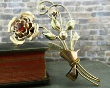 Vintage Harry Iskin 1/20 10K Rose & Yellow Gold Filled Flower Pin/ Brooch