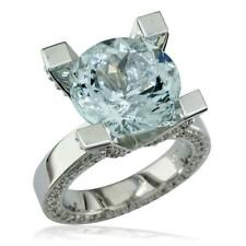 Ring, 1.75Ct Diamonds in 18k White Large Round Aquamarine and Diamond Right Hand