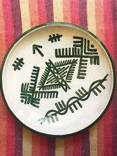 Berbere plate green handmade pottery made in Morocco painted by hand