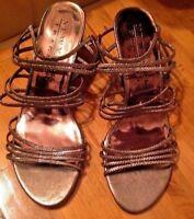 "New York Transit Women's 10 M Strappy Sandals Metallic Gold Open Toe 2 3/4"" Heel"