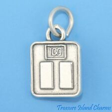 Weight Bathroom Scale 3D .925 Solid Sterling Silver Charm Says 100 MADE IN USA