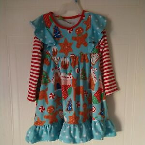 Millie Loves lily Gingerbread Man Christmas long sleeves dress size 6