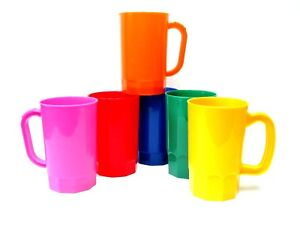 6  Plastic Beer Mugs, Holds 1 Pint, Mix of Colors, Made in America, Lead Free*