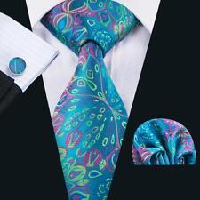 UK Peacock Green Blue Tie Floral Jacquard Woven Mens Necktie Set Wedding B1592