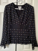 LOFT Women's Blouse Long Sleeve  V-neck Blue Top Size 8