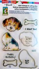 Stampendous Fran's Puppy Dog Clear Stamp & Die Cutting Set Bone Woof! Arff