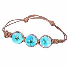 Brown Blue Daisy Dried Flower Adjustable Glass Balls Bangle Bracelet  BB203