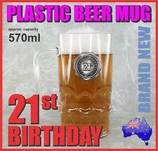 21st BIRTHDAY PLASTIC BEER MUG STEIN TANKARD WITH HANDLE HOME BAR GREAT GIFT