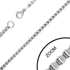 "20"" STAINLESS STEEL 2.4MM BOX LINK CHAIN NECKLACE"