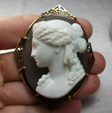 RAREST LARGE VICTORIAN HARD STONE CAMEO BROOCH OF ARIADNE  LAYAWAY WELCOME!