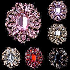 Fashion Gold Plated Rhinestone Crystal  Flower Brooch Party Wedding Bridal Pin