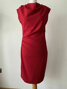 Kiomi Tall Red Cowl Neck Sheath Dress Side Ruched Size 10 - 12 / 36