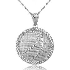 925 Sterling Silver Sport Basketball Pendant Necklace - Made In USA