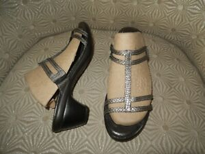 """NAOT Loop Womens Gray Lizard Leather 2"""" Heel Slide Sandal 8-8.5M/39 $180."""