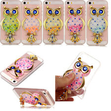 3D Owl Liquid Dynamic Bling Quicksand Case Soft TPU Silicone Cover For Phones
