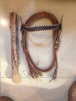 Western Set Of Natural Braided Leather Buffalo Head stall,Rein Breast Collar