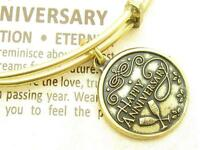Wind and Fire Happy Anniversary Charm Gold Wire Bangle Stackable Bracelet Gift