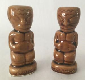 Vintage Don The Beachcomber Kon Tiki Glazed Ceramic Salt & Pepper Shakers Nice