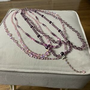 Lot Of 5 Vintage Crystal Beaded Necklaces Pink Purple
