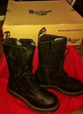 DR MARTENS BLACK VONDA MONO LEATHER HIGH BOOTS TALL CALF FLORAL NEW SIZE UK 4 37