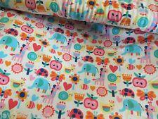 Baumwoll Jersey Blumen Elefant wollweiß Little Darling Kinderstoff Meterware