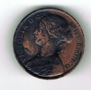 1861 Victoria One Penny coin