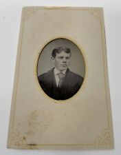 Well Dressed Man Tinted Cheeks Tintype paper framed Davis Appleton Photograph