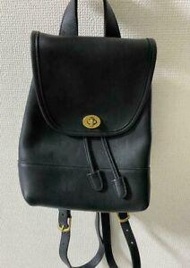Old coach  bag black Leather Backpack rucksack