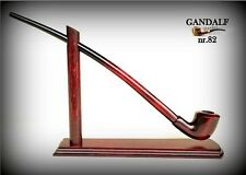 "WOODEN  SMOKING PIPE + STAND Lotr Gandalf 84 Hobbit CHURCHWARDEN LONG 14"" Rustic"