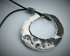 "Israel Si C. Mel 15-17"" Sterling Silver Leather Faux Opal Round Pendant Necklace"