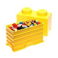 LEGO STORAGE BRICK 2 YELLOW CHILDRENS TOY STORAGE BOX PLAYROOM