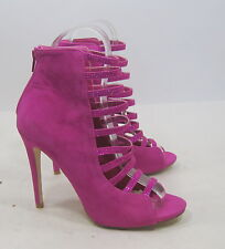 """new Fuchsia 5""""Stiletto High Heel Open Toe Ankle Strap Sexy Shoes Size 8.5"""