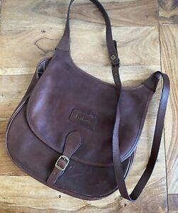 Barbour Leather Vintage Handbag Crossbody Saddle Cartridge Bag Brown