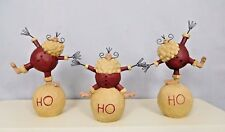 Set of 3 Santa's standing on a snowball with HO HO HO- New Blossom Bucket #28491