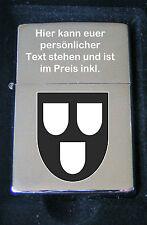 Maler Wappen Feuerzeug als Gravur inkl. Textgravur auf dem Deckel