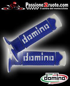 Paar Handgriffe Motorrad Off Road Cross Domino Zweifarbig Blau Weiss