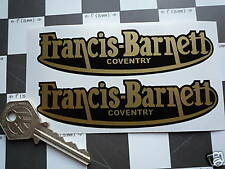 FRANCIS BARNETT Gold Script Classic Motorcycle Stickers 115mm Pair Coventry Bike