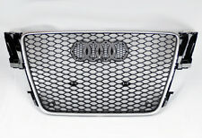 Audi A5 S5 07-11 RS Style Euro Honeycomb Hex Mesh Gloss Black + Silver Grill