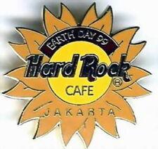 Hard Rock Cafe JAKARTA 1999 EARTH DAY PIN Logo on Sunflower - HRC Catalog #3783