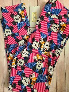 NEW LuLaRoe OS Disney Leggings Pink Blue Orange Geometric Mickey Mouse