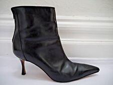 MANOLO BLAHNIK black leather ankle boots booties Italian size 40 US 9 - 9.5