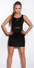 Mini robe noire sexy avec voile transparent NEUF emballé Taille SM fashion dress