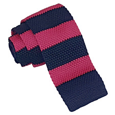 NEW DQT MEN'S KNITTED  HOT PINK & NAVY STRIPED TIE