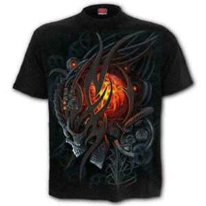 Spiral Direct STEAMPUNK SKULL Mens Goth/Reaper/Biker/Rock, T-Shirt/Top/Clothing