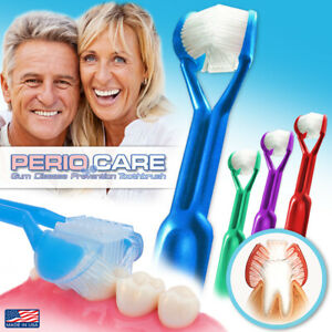 4PK | DenTrust Periocare 3-Sided Toothbrush | Clinically Proven + Tongue Scraper