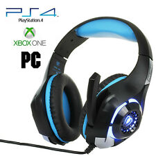 Pro Gamer PS4 Headset for PlayStation 4 Xbox One & PC Computer Blue Headphones 3