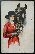 """Antique """"Girl with a horse"""" Imperial Russia pre-1917  postcard a13"""