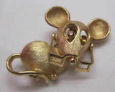 Vintage Avon Mouse Pin Brooch Amber Rhinestone Moveable Eyeglasses Gold Tone