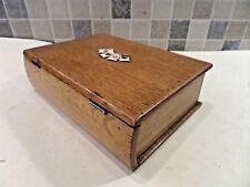 Roble Macizo eduardiana Caja de tarjeta de juego en forma de un libro + 2 juegos de tarjetas antiguas