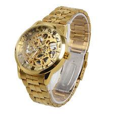 Zinc Alloy Men Mechanical Watch Gold Color Transparent dial Skeleton Wristwatch